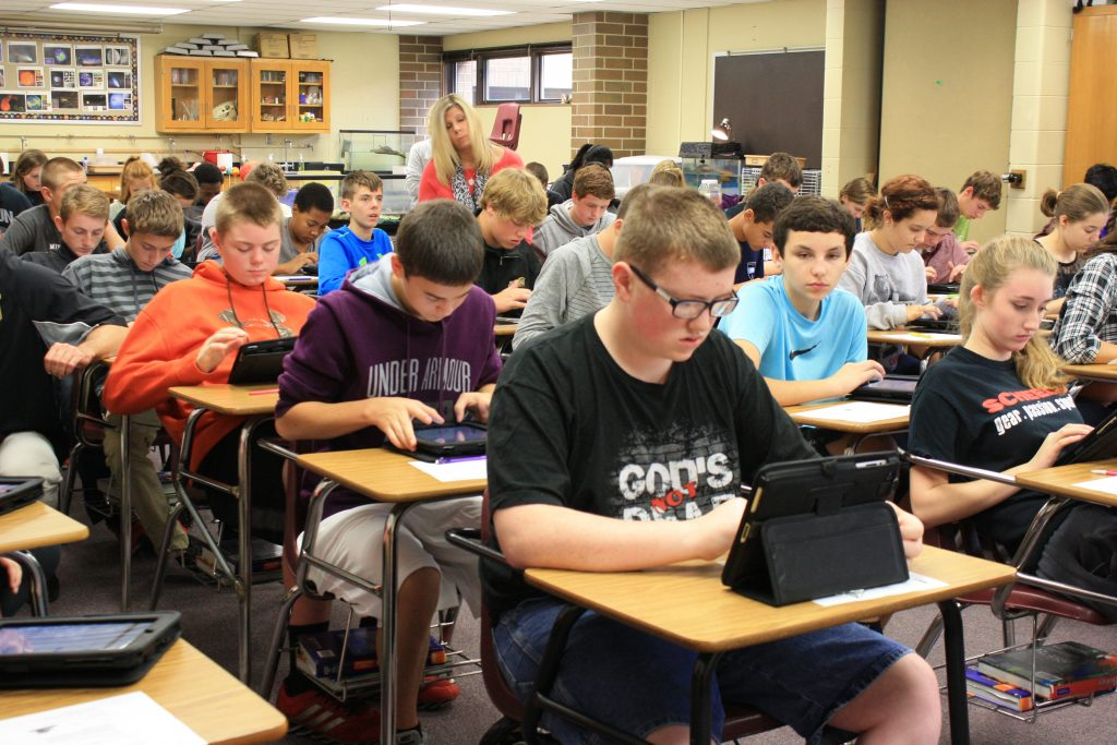 Johnston Middle School students set up their ipads