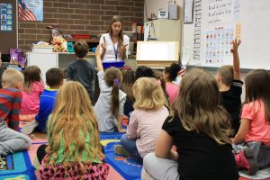 Wallace Elementary kindergarten teacher leads class in discussion.