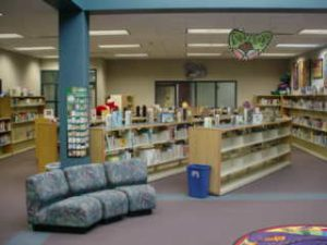 A view of the library bookshelves