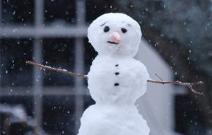 Image of a snowman outside on a snowy day.