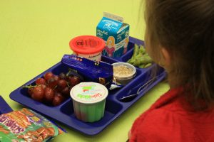 Photo of a tray with school lunch