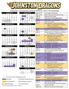 Photo of the 2017-17 Johnston Community School District academic year calendar