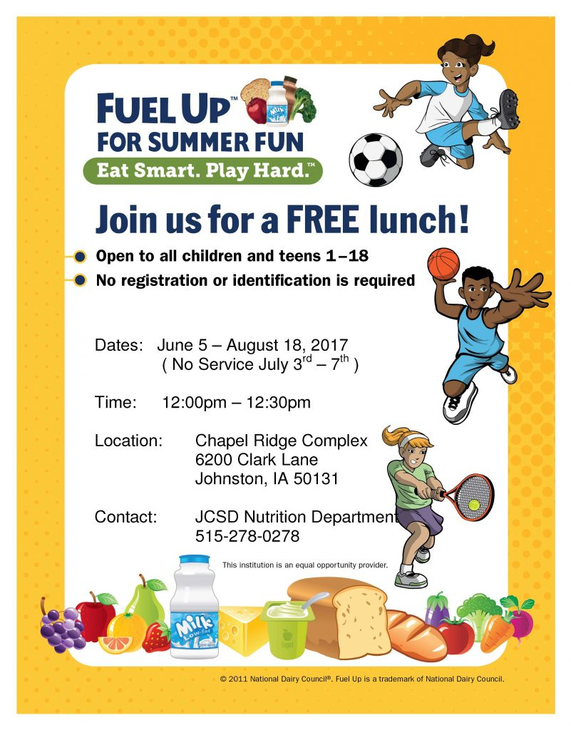 Fuel Up for Summer Fun Advertising flyer lunch