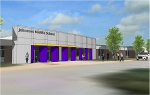 An architect's rendering of the updated front on the renovated Johnston Middle School (formerly Johnston High School).