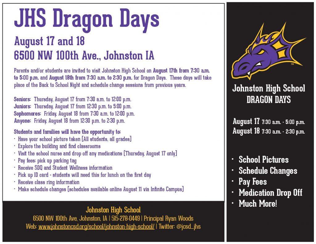 Jhs 2017 18 Dragon Days Johnston Community School District