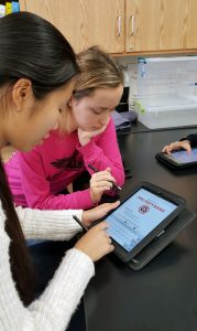 Two female students work on their ipads during an assignment.