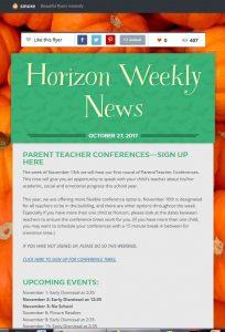 Screenshot of the Horizon Weekly Newsletter
