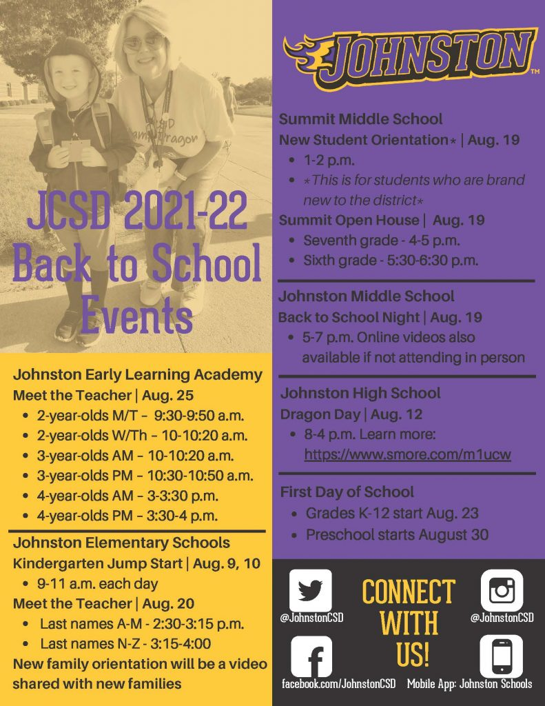 JCSD 2021 Back to School Events