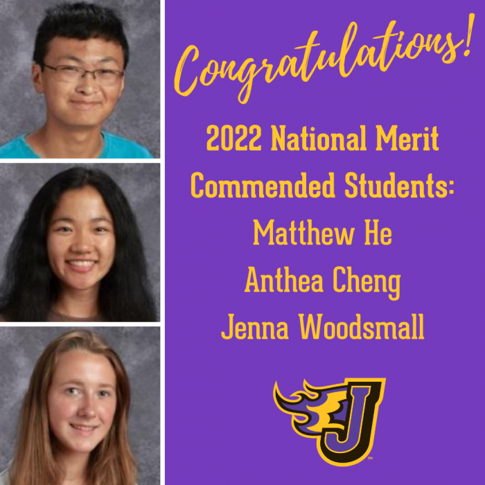 Three JHS Seniors Named Commended Students